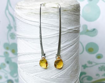Sterling Silver - Citrine Line Earrings / sterling silver earrings / citrine drop earrings / minimalist earrings / citrine dangle earrings