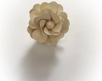 Vintage Antique White Enamel Flower Brooch Faux Pearl Center