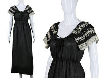 70s Embroidered Dress 1970s Maxi Dress Joy Stevens Dress Boho Hippie Dress Eyelet Lace Sleeves