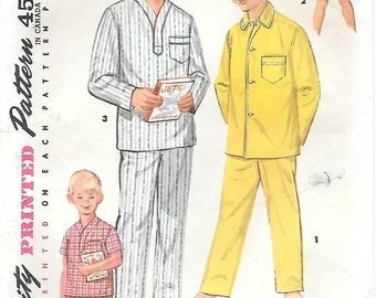 Simplicity 1434 1950s Boys Classic Pajamas Vintage Sewing Pattern Sizes 6 12 and 14 Summer Pajamas Pullover PJs