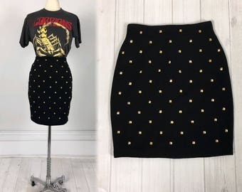 Vintage 80s Punk Gold STUDDED SKIRT black with metal pyramid studs size S by Outlander wool blend