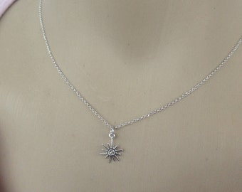Sun necklace - 925 sterling silver  - Handmade jewelry - Gift for her - fine jewelry - tiny sun charm