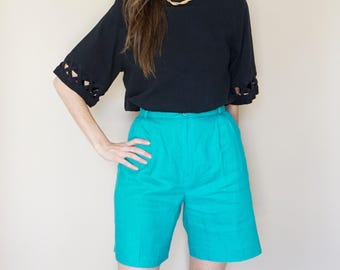 vintage TEAL long linen MINIMAL trouser shorts M