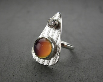 Mood Ring, Sterling Silver and CZ, handmade, size 8.5