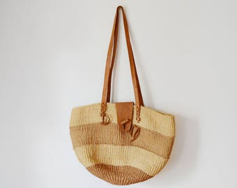 1980s Woven Market Tote with Leather Straps