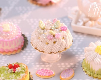 Pretty Pink and White Blossom Cream Cake - Miniature Food for Dollhouse 12th scale 1:12