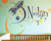 rocket ship with custom name wall decal, mid century space ship vinyl art, retro rocket sticker, boys room, girls room, FREE SHIPPING