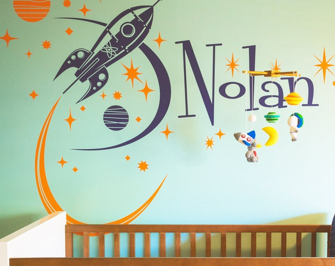 rocket ship wall decal with custom name