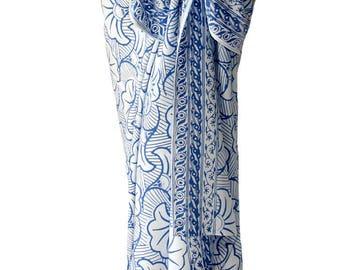Beach Sarong Wrap Skirt Batik Pareo Gingko Leaf Sarong Cover Up Sarong Batik Swimwear - Long Wrap Skirt - Elegant Jewel Tone Sarongs