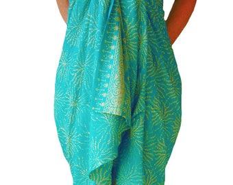 PLUS SIZE Clothing Womens Sarong Wrap Skirt or Dress - Aqua Green & Creamy White Sea Anemone Beach Sarong Pareo Batik Sarong - Plus Swimwear