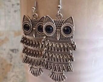 Owl Earrings, Statement Earrings, Dancing Owls