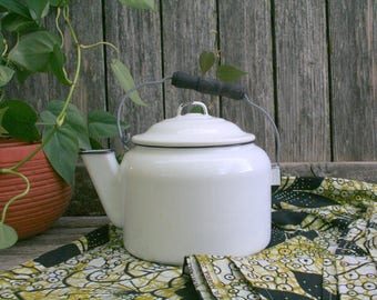 Rustic / Cottage Chic Vintage White and Black Enamel / Granite Ware Tea Kettle