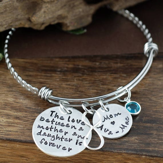 Mother & Daughter Bracelet, Infinity Bangle, Charm Bracelet, Bracelet for Mom, Mothers's Bangle Bracelet, GIft for Bride from Mom