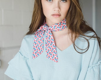 Floral Skinny Scarf, Cotton Neck Scarf, Red White Blue Scarf, Thin Scarf, Narrow Scarf