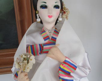 "20"" Tall Vintage Korean Doll in White Embroider Hanbok"