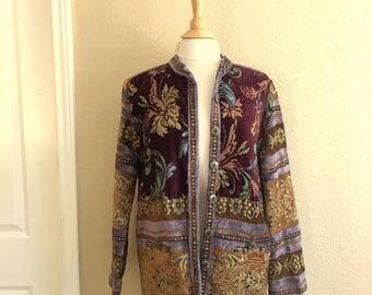Vintage Burgundy And Olive TAPESTRY Blazer Shirt / 90s Sag Harbor / Womens Size Large