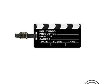 Luggage Tag Hollywood Clap Board Director Movies Metal Luggage Tag With Printed Custom Info On Back, Single Tag