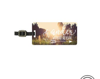 Luggage Tag  Wander without Reason Summer Sunshine Metal Luggage Tag Info On Back, Single Tag