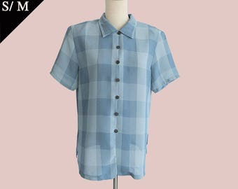 Japan 80s Ska Punk Buffalo Plaid Checkered 90s Button down sheer polo shirt / Blue black / Small Medium