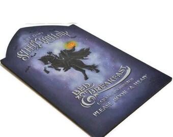 Hand Painted Sleepy Hollow Bed & Breakfast Tombstone | Handpainted Wood Headless Horseman Halloween Sign