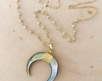 NEW! Mother of Pearl Crescent Moon/ Double Horn Long Gold Necklace.  Neutral colors.