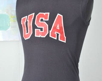 Amazing Burnout Vintage Sleeveless USA Tee Tanktop TShirt 80s Navy Blue Super Soft n Thin SMALL