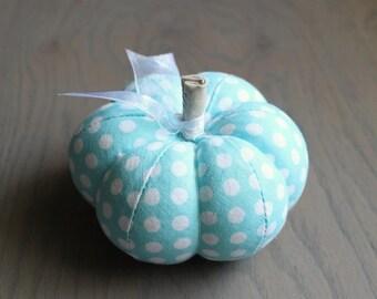 Blue Pumpkin Cute Blue Polka Dot Cotton Pumpkin Pincushion Sky Blue Aqua Blue Turquoise