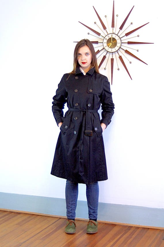 Black trench coat, Vintage Trench coat, BANANA REPUBLIC coat,Belted trench coat, Womens trench coat, classic trench coat, vintage 90s, Sz L