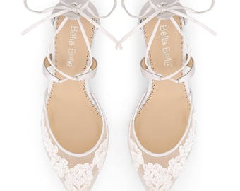 Classic Alencon lace comfortable low heels wedding shoes, criss cross ankle straps by Bella Belle Amelia