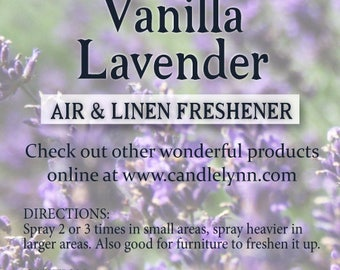 Fragrance Spray - VANILLA LAVENDER - 8 oz - Bath & Home
