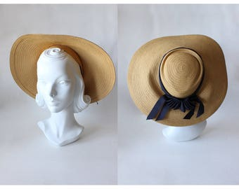 1940s Hat / Vintage Chandler & Co. Boston Wide Brim Straw Hat