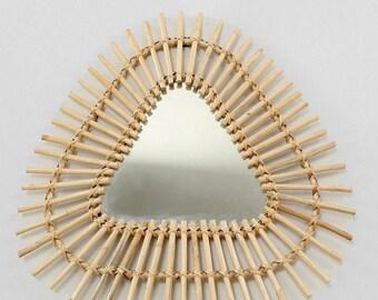 Grand miroirrotin soleil forme triangle atypique et rare 60 cm x 60cm