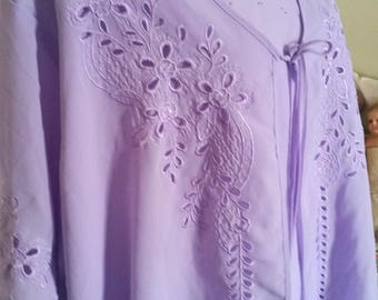 mother of the bride top, large size top, AU size 26, USA size 22, lilac embroidery, beautiful cutwork, victorian top