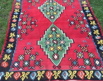 Vintage Kilim Rug Bright Colorful Wool Turkish Handwoven 7.75' x 5'