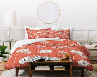 Floral Bedding Duvet Cover // Twin, Queen, King Sizes // Home Decor // Red Poppy Field Design // Bedding // Red // Floral Bedding // Flowers