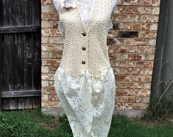 Altered Women's Cotton Crocheted Vest, Lace Skirt,Size Medium, Shabby Chic Top, Romantic Top, Funky Vest, BoHo, Detachable Flower,Lacy Skirt
