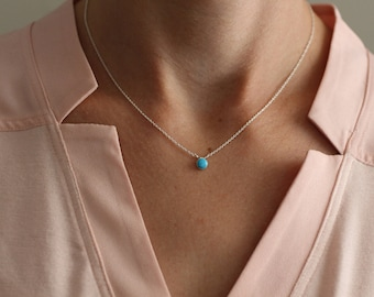 Turquoise necklace etsy turquoise necklace dainty silver necklace tiny necklace blue turquoise circle round mozeypictures Image collections