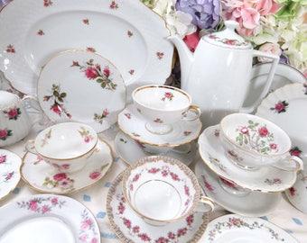 23 Pc Mismatched PINK ROSE Tea and Dessert Set ~ Service for 6 ~ Vintage Fine China ~ Coffee Pot, Dessert Plates ~ Cups & Saucers ~ DS40
