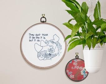 "Wise Rhino Hand Embroidery - 8"" Hoop"
