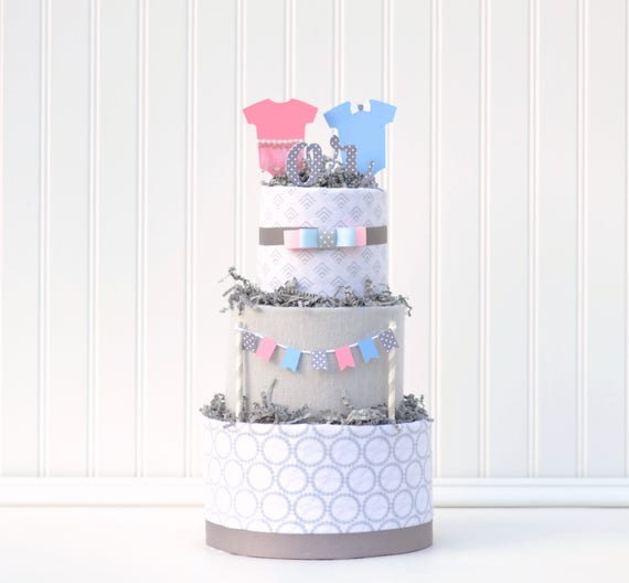 Gender Reveal Party Ideas, He or She Diaper Cake, Pink or Blue Decorations, Gender Reveal Ideas, Gender Reveal Party Gift Centerpiece