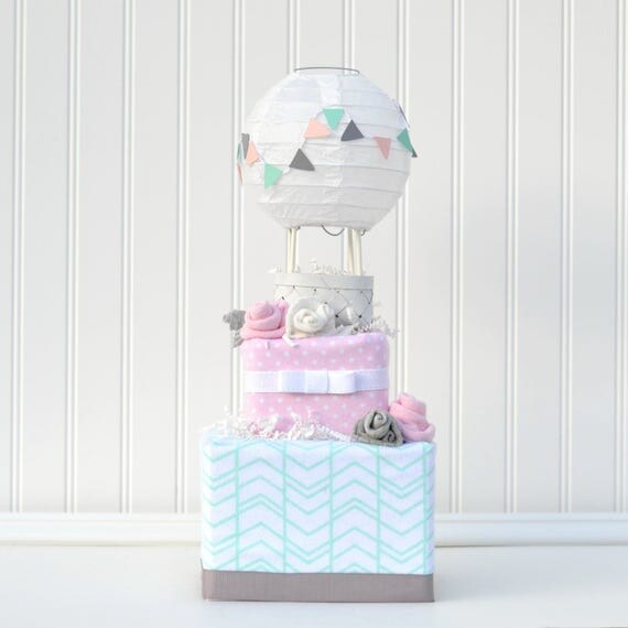 Up and Away Shower Diaper Cake, Hot Air Balloon Baby Shower Diaper Cake, Up and Away Cake, Baby Shower Decoration, Baby Girl Centerpiece