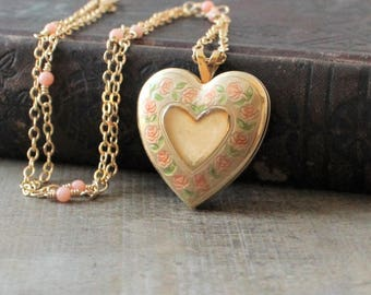 Enamel Locket, Gold Locket Necklace, Gold Heart Locket Pendant, Gold Photo Locket, Coral Necklace, Push Gift, Vintage Locket, Gift for Mom