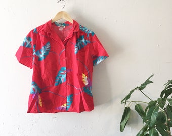 80's Red Tropical Blouse