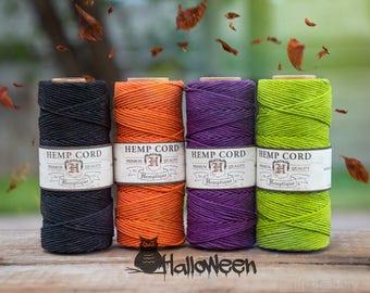 Halloween Hemp Twine, 4 Spools,   1mm Hemp Cord,  Halloween DIY, Craft Cord,  Macrame Cord