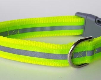 Yellow Reflective Safety Dog Collar