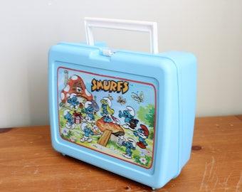 Smurfs Plastic Lunchbox, Peyo, Thermos Brand