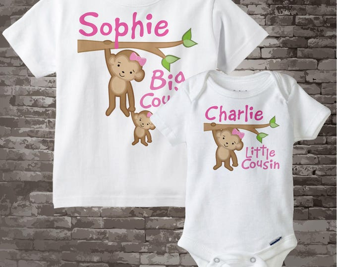 Big Cousin Little Cousin Shirt set of 2 - Sibling Shirt Set - Personalized Tshirt with Cute Monkeys - Price is for both items - 06122012a