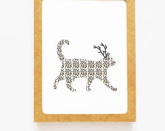 Holiday Leopard Cat Reindeer Card for Christmas Greetings or Happy New Year Cards