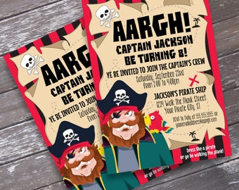 Pirate Invitation - Pirate Birthday Party, Invitation with Editable Text | DIY INSTANT Download PDF Printable