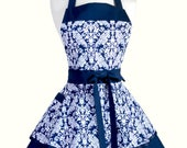 PLUS SIZE Womens Ruffled Retro Apron - Navy Blue Damask Womans Vintage Style Apron with Pocket to Personalize or Monogram (DP)